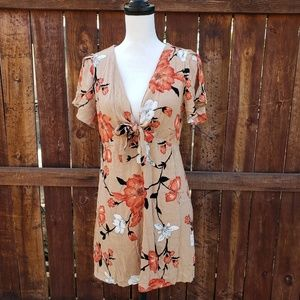 Fashion Nova Brown Floral Dress size Medium